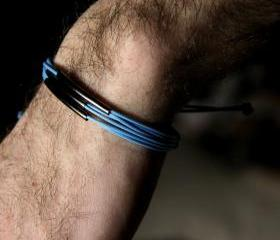for him - adjustable bracelet metal and blue waxed cotton - men and unisex bracelet