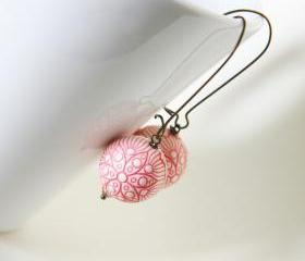 pink flowers earrings - wedding bridesmaid - cream pink antique bronze