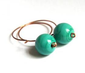 emerald glass and copper earrings - modern elegant