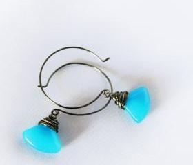 neon blue and black earrings - wire wrapped in gunmetal - ethnic and geometrical